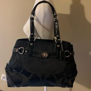 Coach Signature Sateen Carly Carryall Satchel EUC!